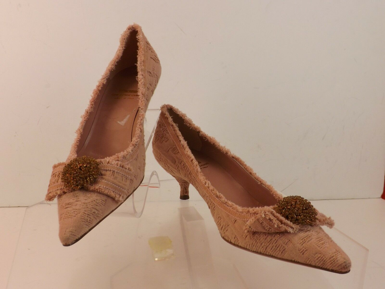 NWB MOSCHINO CANVAS CHEAPANDCHIC DUSTY PINK FLORAL CANVAS MOSCHINO BOW KITTEN HEEL 39.5 ITALY 62148c
