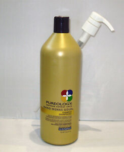 Pureology-Nano-Works-Gold-Shampoo-33-8-oz-Liter-with-PUMP-Nanoworks-SEALED