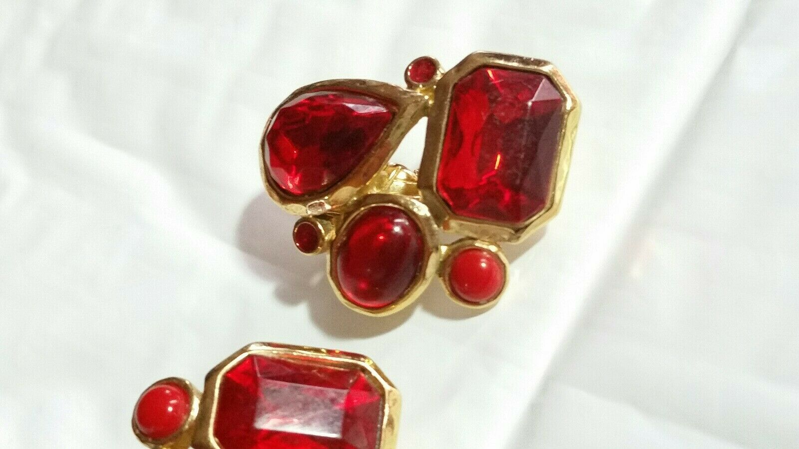 Vintage Signed Trifari Red Cabochon Earrings Rhinestone & Lucite & Enamel Clips