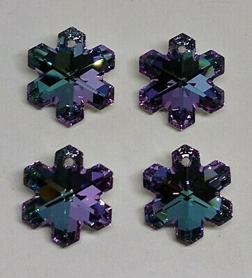 Rare 4pc Swarovski Crystal Vitrail Light 20mm Snowflake 6704 Pendant; Beautiful