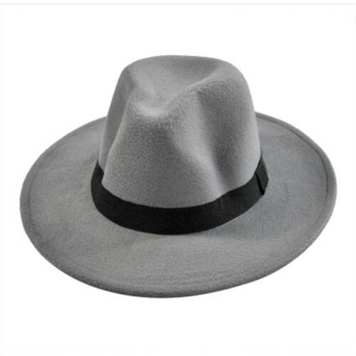 Retro Women Men Unisex Hard Felt Fedora Trilby Jazz Hat Gangster Cap Ribbon Band