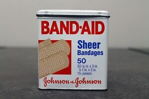 Vintage-Johnson-amp-Johnson-Sheer-Band-Aid-Tin-Empty-and-in-Good-Condition