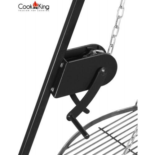 Dreibein Schwenkgrill klappbar 200 cm hoch mit Kurbel und Stahl Wok d 70 cm