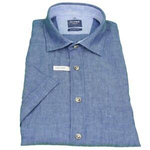 Olymp Hommes Casual Loisirs Chemise à moitié bras lin bleu unicolore 4052 32 13