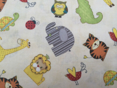 By 1//2 Yard Wilmington Sunshine Zoo Fabric Jo Moulton beige owl lion elephant