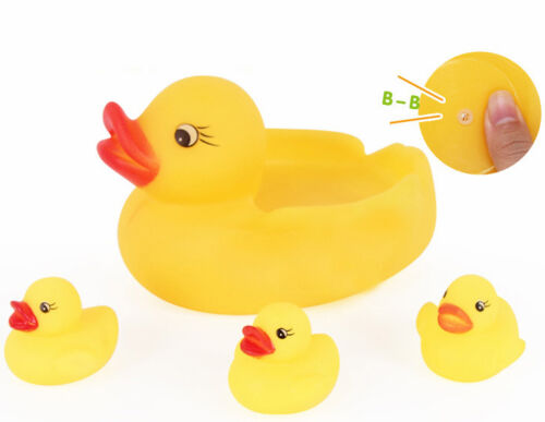 Bathing Baby Girls and Boys Cute Yellow Duck 4pcs Sets Squeaky Rubber Kids Toys