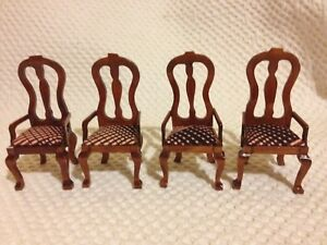 Details About Dolls House Miniatures 4 Wooden Carver Dining Room Chairs With Padded Seats