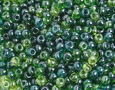 25 Grams Czech Preciosa 6/0 Seed Bead-Sea Green Luster Mix - Size 6 (PS0132)