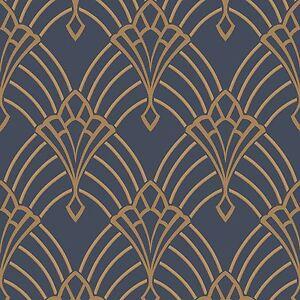 astoria art d co papier peint rouleaux bleu fonc dor rasch 305340 ebay. Black Bedroom Furniture Sets. Home Design Ideas
