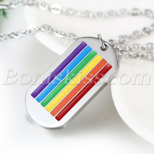 Stainless Steel Necklace Chain Rainbow Pride Dog Tag Pendant Gay LGBT Jewelry