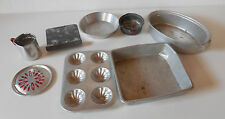 Vintage Children's toy heavy tin miniature baking pans, cake, cookie,roaster,