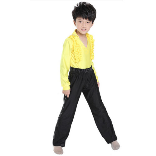 Pants Fashion Latin Tango Ballroom Dancewear Kids Boys Dance Costume 2Pcs Tops