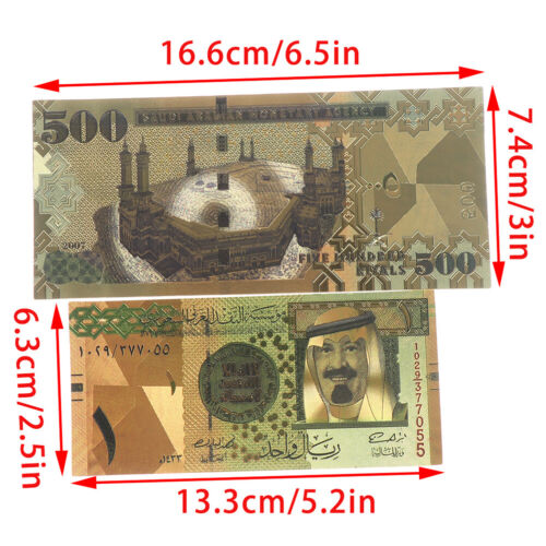 7pcs Saudi Arabia Banknote Gold Foil Paper Money Crafts Collection Note Currency