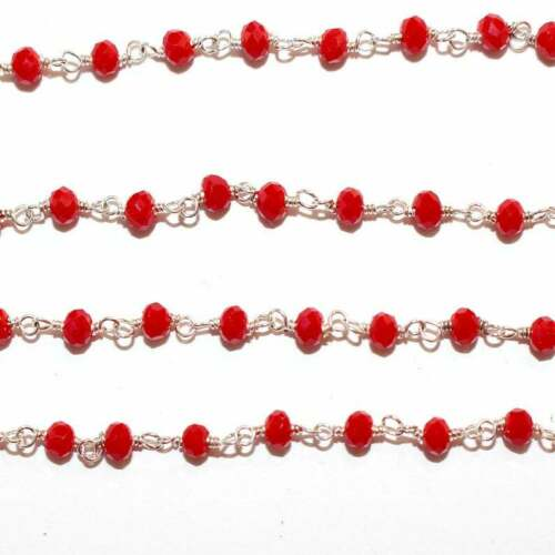 3 Feet CORAL RED 3MM Bead Link Chain 24K Gold Plated Rosary DIY Gemstone Crystal