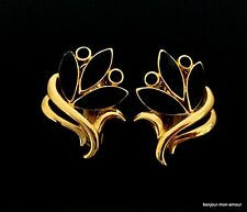 Designer TRIFARI sign. schwarz emaillierte Ohrclips Ohrringe, Orecchini,Earrings