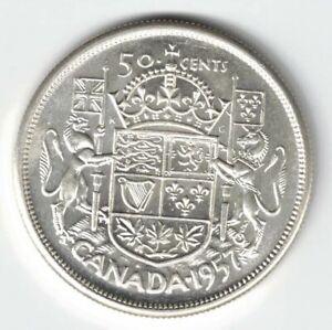 CANADA-1957-50-CENTS-HALF-DOLLAR-QUEEN-ELIZABETH-II-800-SILVER-COIN