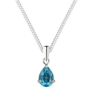 Collana argento pendente blu Collana in acciaio con 18 pera con a in di forma topazio Chain 8x6mm Wq5RwYr5T
