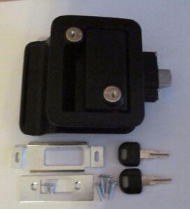Black-RV-Entry-Door-Lock-Handle-Knob-Deadbolt-Keys-Camper-Travel-Trailer-CW-FIC