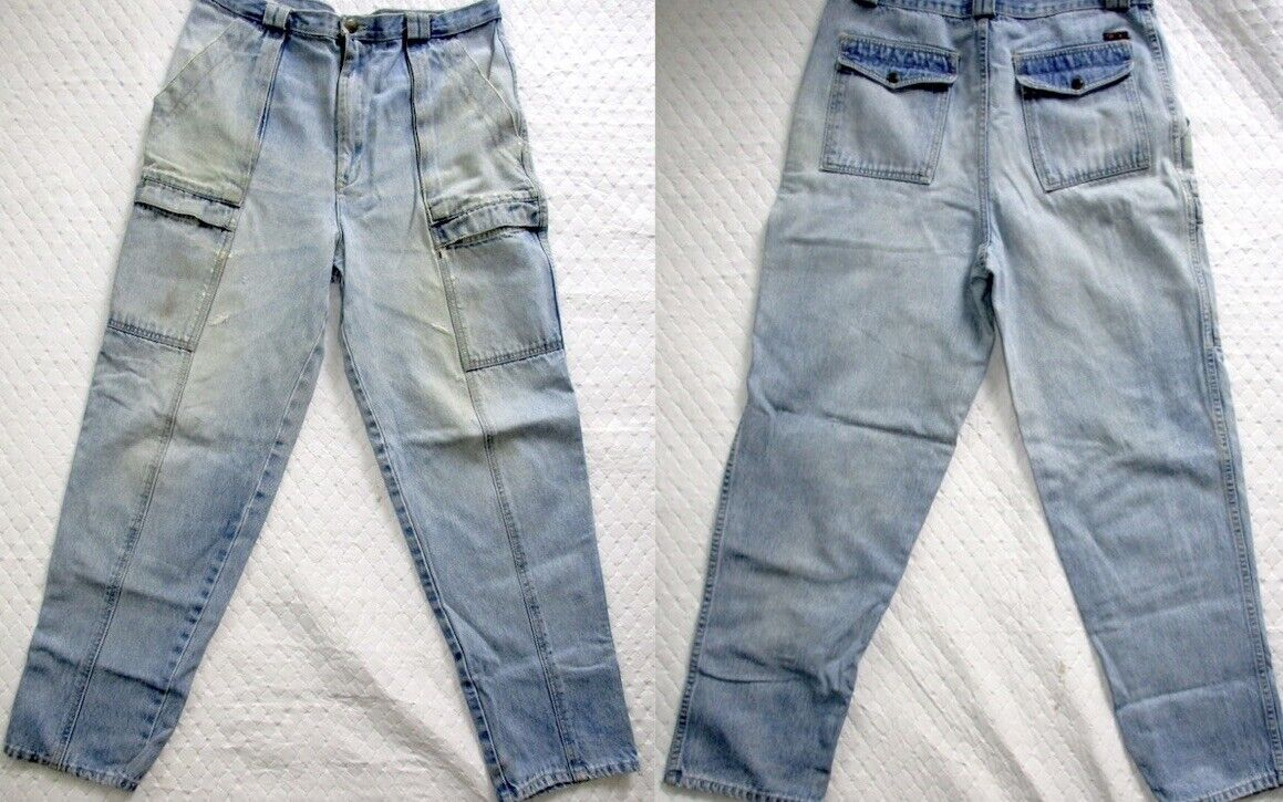 Vintage JEANS Cargo High WAIST DISTRESSED MEN'S COTLER FARMER bluee JEANS 34x30