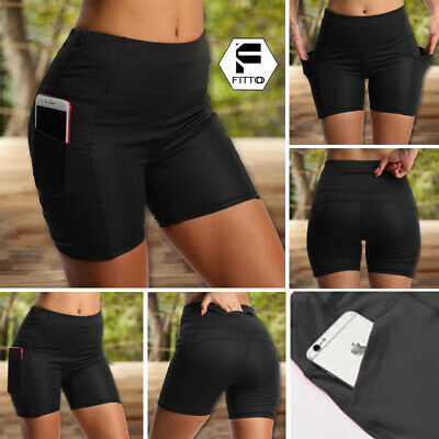 Women Flex Yoga Shorts Side Pocket High Waisted Workouts Cycling Biker Shorts