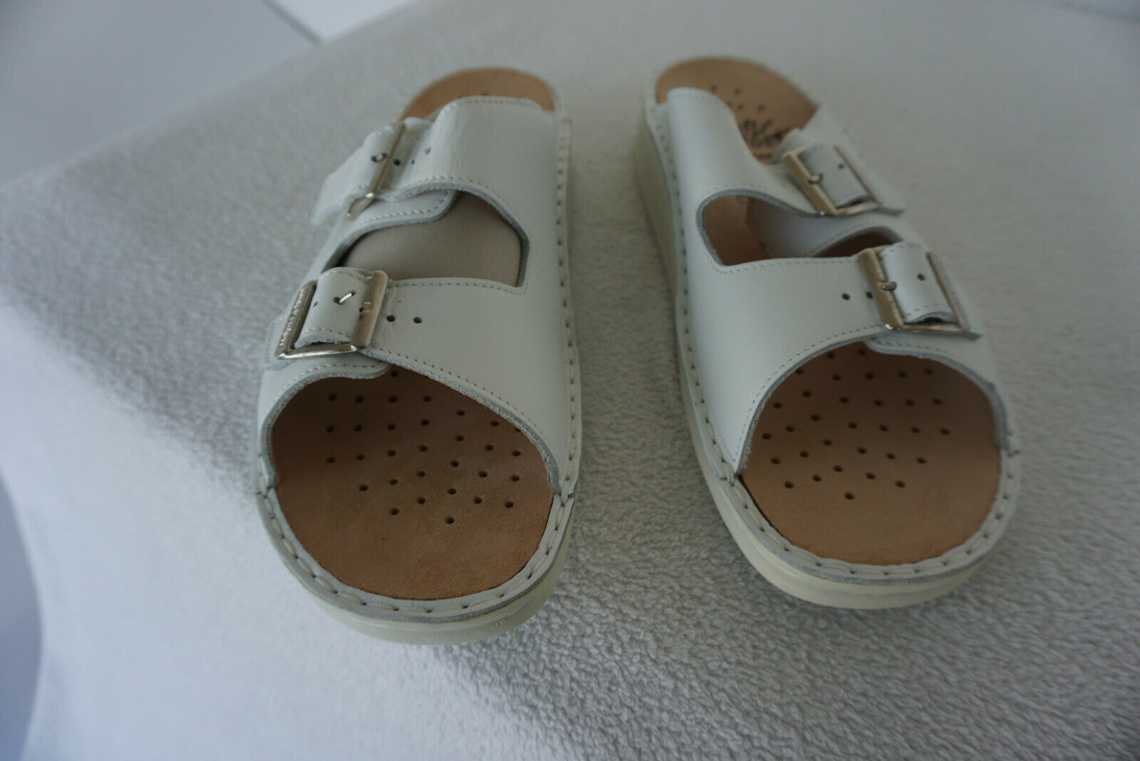 FINN COMFORT Crète Chaussures Hommes Sandales Cuir M dépôts taille 44 blanc pratique neuf
