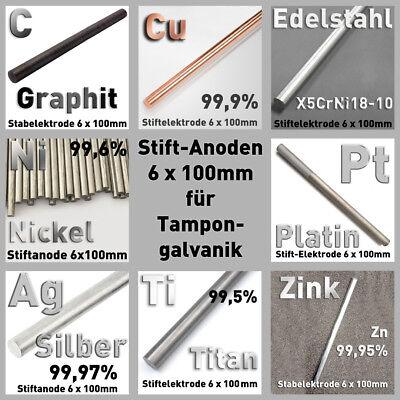 Blei Pb 99,95 Rund Stab Anode ⌀8 x 100 mm Galvanik Elektrode Element rein Metall