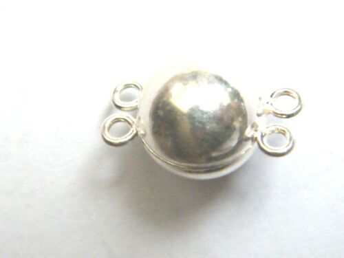 Sterling Silver 2 Row Magnetic Clasp 12mm Ball  Necklace Catch Double Strand.925