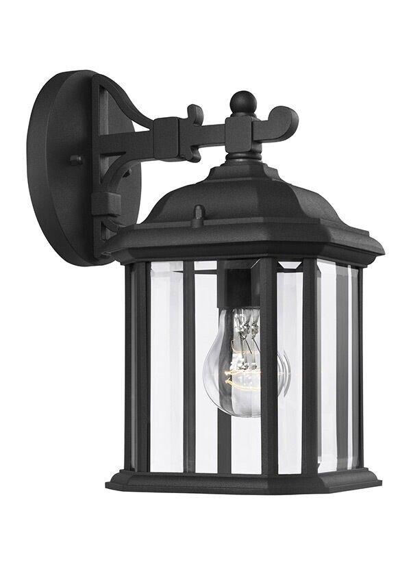 Sea Gull Lighting 84029-12 Negro 1 Luz Linterna al aire libre Kent Lámpara de parojo