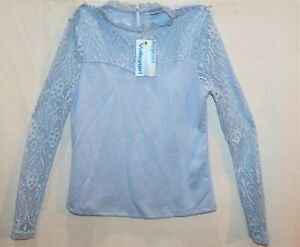 Valleygirl-Brand-Sky-Blue-Long-Sleeve-Lacey-Blouse-Top-Size-S-BNWT-RE73