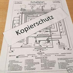 Auto Union Wanderer W 24 WH Ausführung, Schaltplan elektrische ...