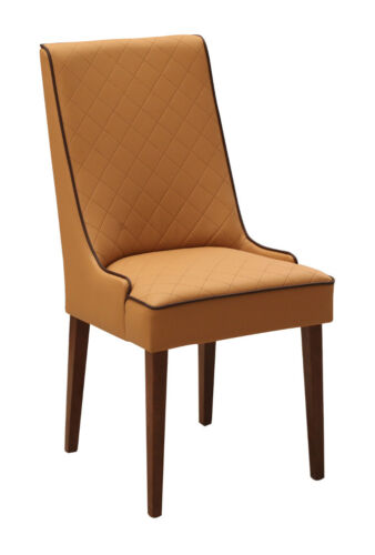 Set 4x Designer chair Leather Easy Chair Upholstered Chairs gastronomic Dining Wood Fabric