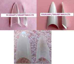CLEAR-WHITE-NATURAL-STILETTO-ALMOND-WELL-LESS-TIPS-100-or-500-nail-acrylic