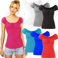 Gypsy Top Stretch T-Shirt Vest Short Sleeve Ladies Blouse Shoulder Womens Ladies