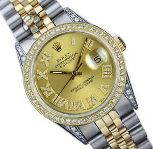 Rolex-Mens-Datejust-16013-Two-tone-36mm-Diamond-Roman-Dial-Lugs-Bezel-Watch