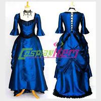 Dark Blue Gothic Lolita Medieval Renaissance Victorian Ball Gown Dress Costume