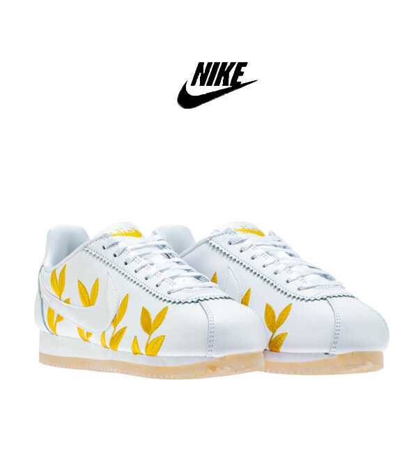 Nike Women's Cortez GODDESS Floral QS Olympic Metallic GOLD White 6 7 8 9 Shoes Wild casual shoes