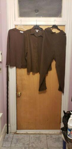 Womens 1x Brown 3 piece pant set