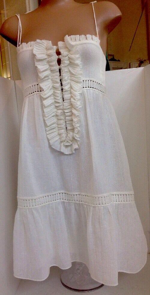 Chloe Dress White Linen Spaghetti Straps Size 2