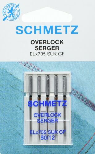 10 Schmetz pour machine à coudre overlocknadeln Jersey serger elx705suk CF nm80