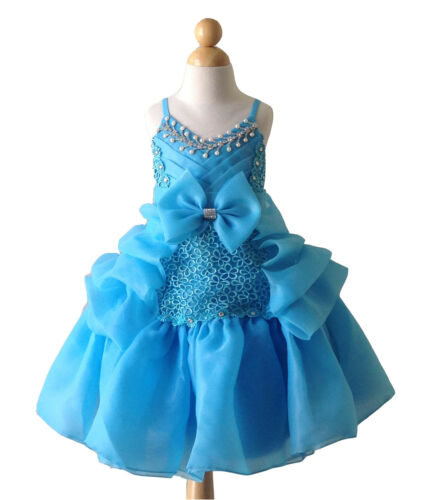 Turquoise Blue Princess Bridesmaid Wedding Flower Girl Dress Pageant Dance Gown
