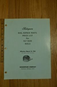 Details about Vintage 1958 Shakespeare Fishing Fly Rod Reels Repair Parts  Price List Diagrams