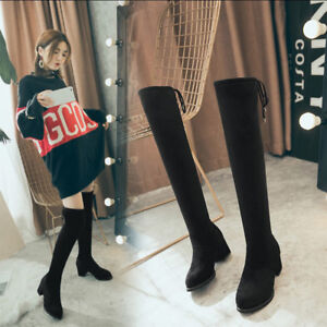 Womens-Knee-High-Boots-Soft-Faux-Suede-Flat-Heel-with-Side-Zipper-Size2-Size15