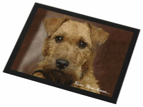 Lakeland Terrier Dog 'Love You Mum' Black Rim Glass Placemat Animal, ADLT2lymGP