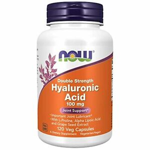 Now Foods Supplements, Hyaluronic Acid, Double Strength 100 mg, 120 Veg Capsules