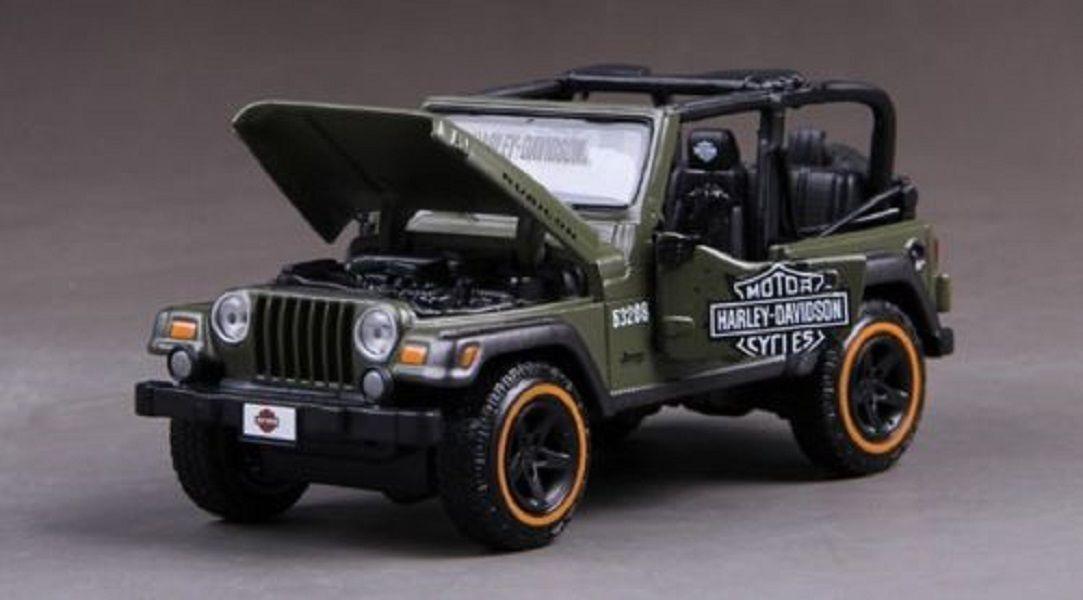 Maisto 1 24 Jeep Jeep Jeep Wrangler RUBICON Harley Davidson Diecast Model Car Green Boxed 9da088