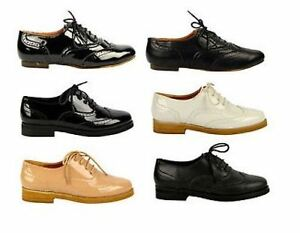 Image Is Loading Womens Flat Black Oxford Brogue Lace Up Pumps
