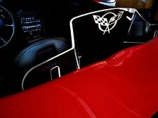 Corvette C5 flag logo white light Windrestrictor® brand wind blocker deflector