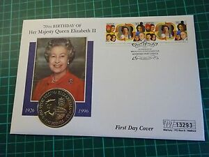 FIRST DAY COVER  QUEENS 70TH BIRTHDAY GEURNSEY £5 COIN LIMITED EDITION