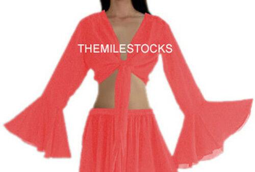 TMS BLACK Ruffle Wrap Top Tie Belly Dance Choli Gypsy Costume Tribal Club Haut