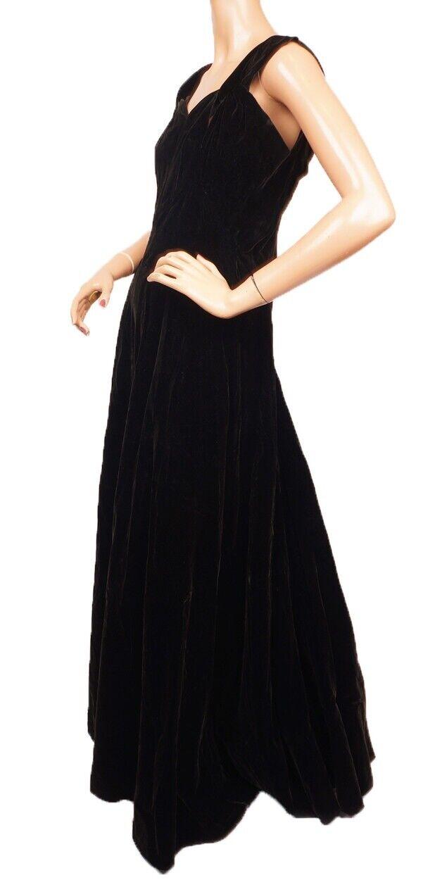 Vintage Molyneux Black Velvet Evening Gown 1930s … - image 1